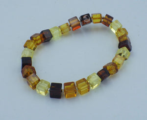 Cube Shaped, Three Colour Baltic Amber Bracelet | Earthfound.co.uk