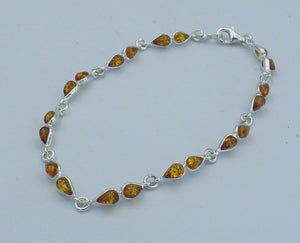 Sterling Silver Teardrop Cut Baltic Amber Bracelet | Earthfound.co.uk