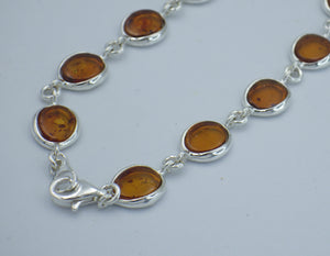Sterling Silver Oval Cut Baltic Amber Bracelet |Earthfound.co.uk