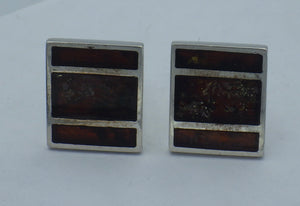 Sterling Silver Rectangular Baltic Amber Cuff Links | Earthfound.co.uk