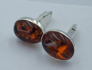 Sterling Silver Oval Baltic Amber Cuff Links | Earthfound.co.uk