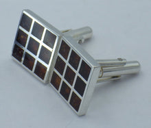 Load image into Gallery viewer, Sterling Silver Rectangular Baltic Amber Cuff Links | Earthfound.co.uk