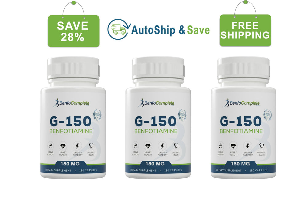 Autoship & Save - Benfotiamine 150mg Gelatin Capsules 3 Bottles Every 90 Days - BenfoComplete