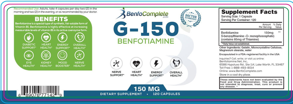 Benfotiamine 150mg 120 Gelatin Capsules Per Bottle - Select Discount Option (New labels coming soon) - BenfoComplete