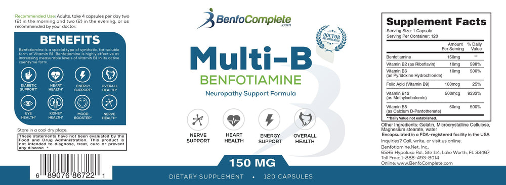 **Temporary BACKORDER** Multi-B Neuropathy Support Formula 150mg 120 Gelatin Capsules per Bottle - Select Discount Option - BenfoComplete