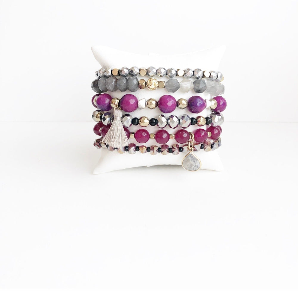 Gray and Magenta Stack