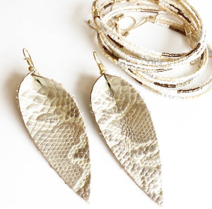 Leather Python Print Earrings