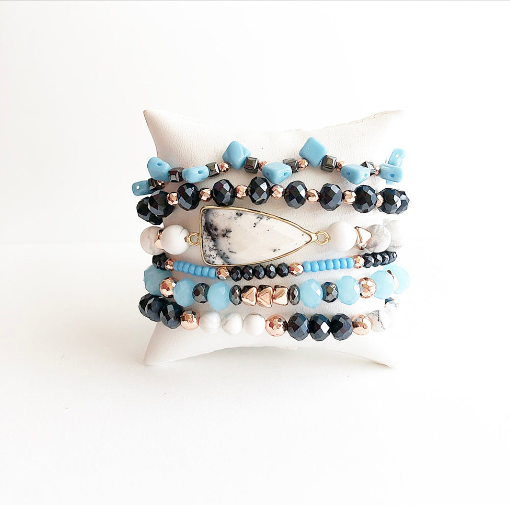 White Howlite & Blue Stack