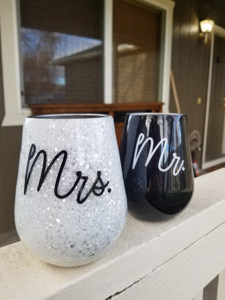 Wedding Glitter Wine Set