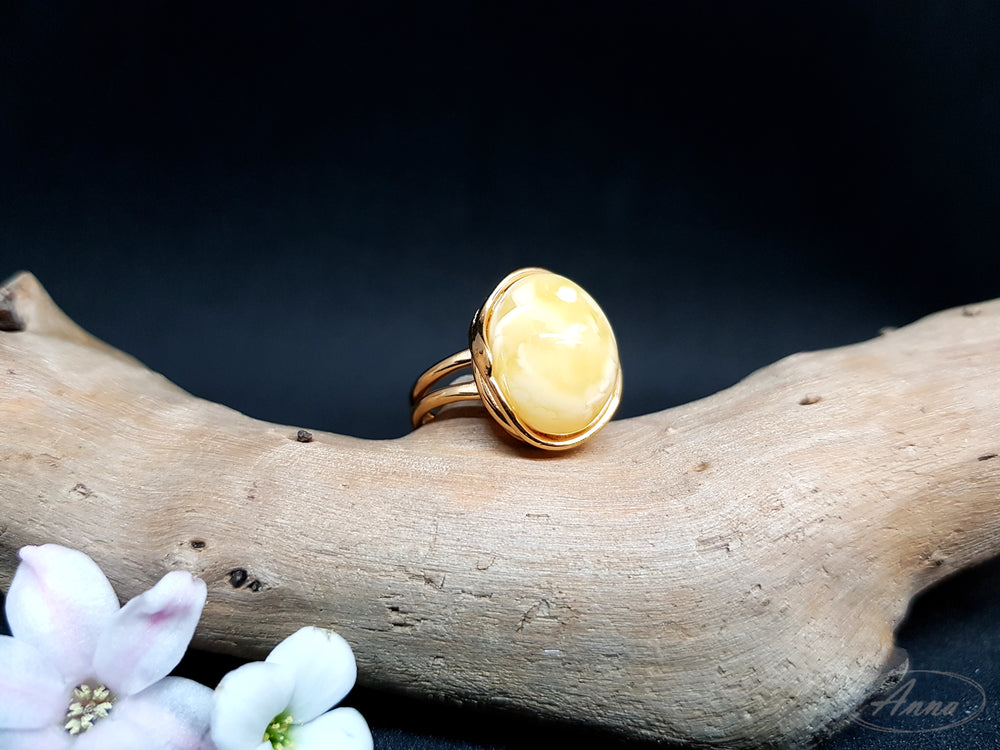 Delicate Amber Ring in an Exclusive Style
