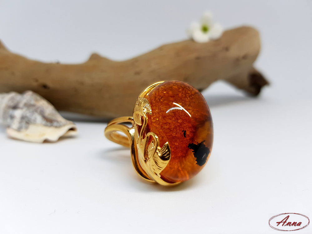 Warm Coloured Natural Amber Ring