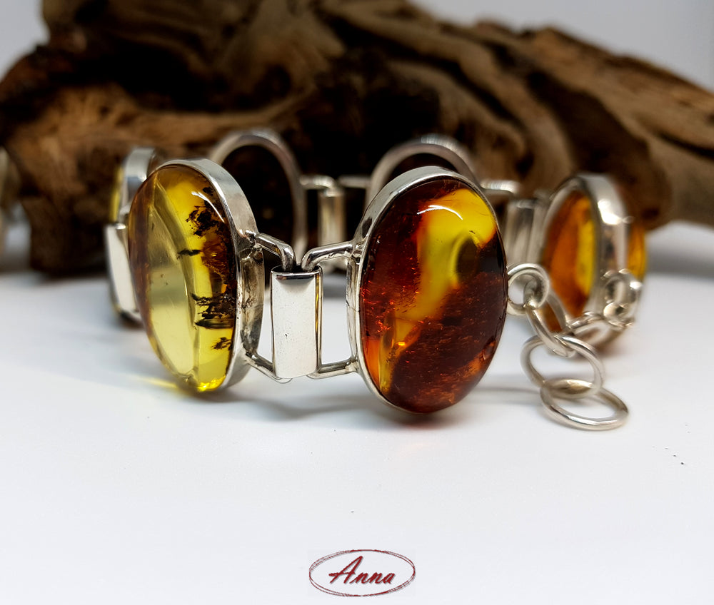 Natural Baltic Amber Bracelet in Silver