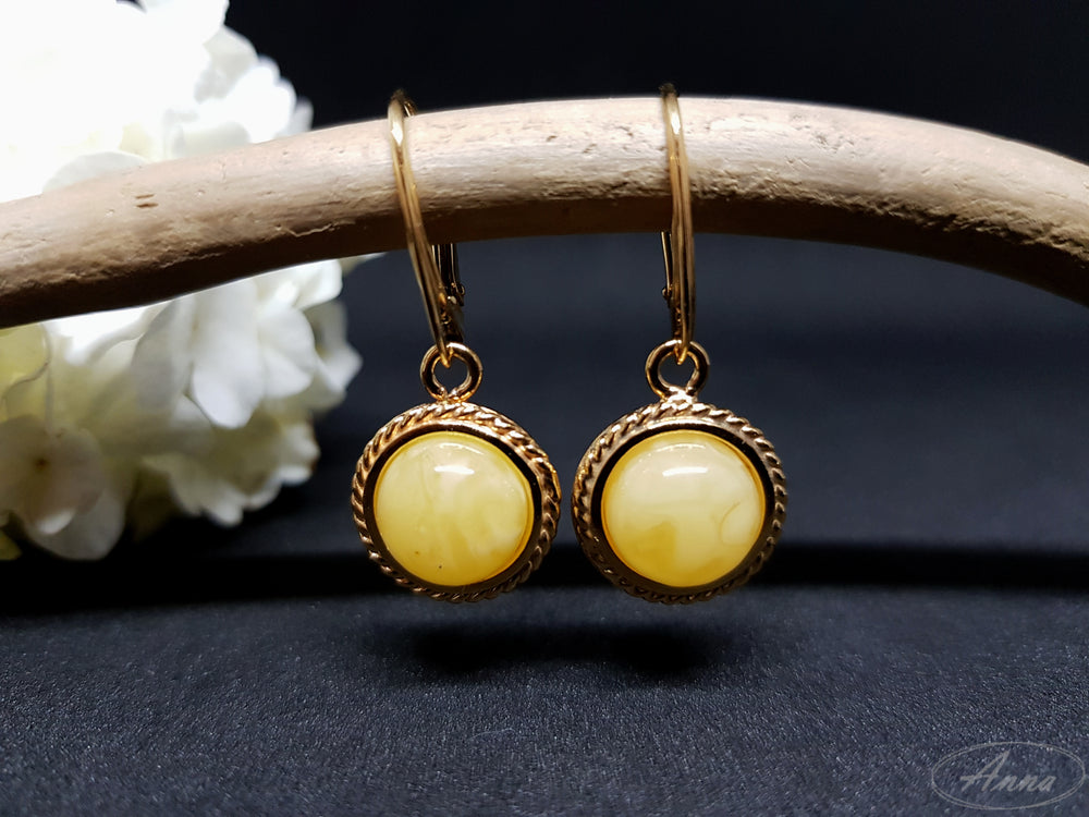 Yellow amber earrings