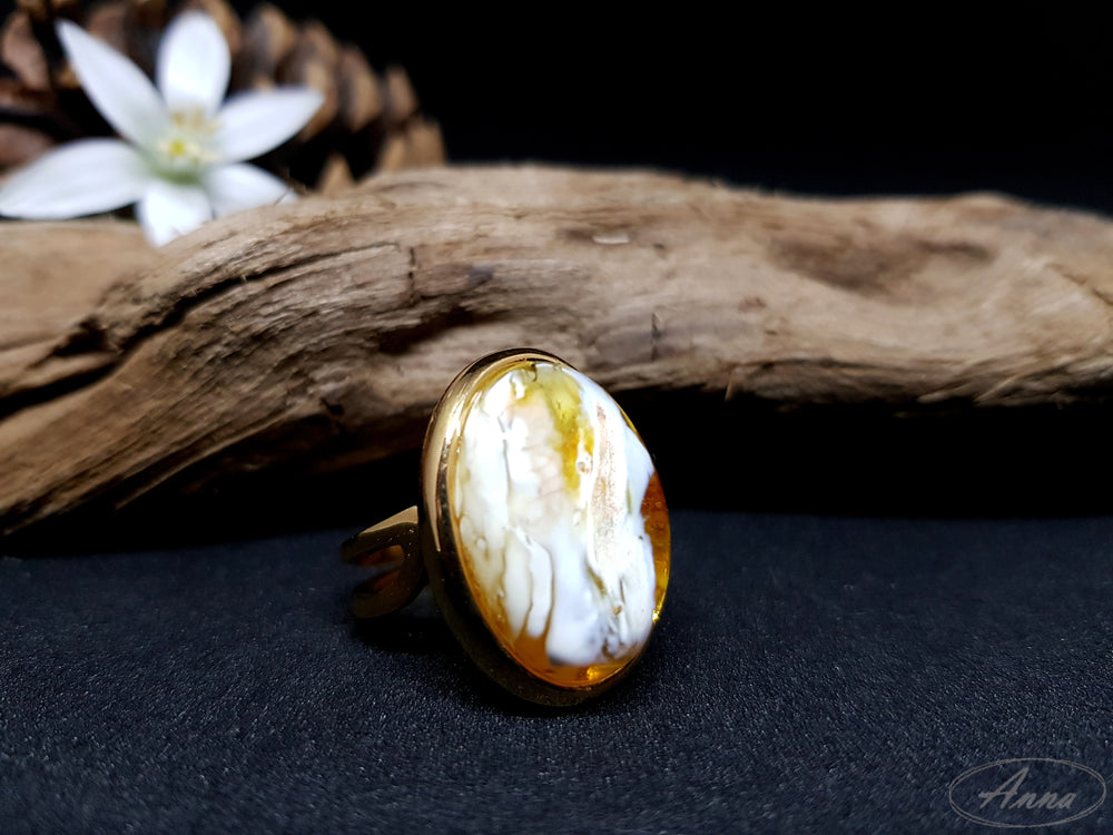 Abstract amber ring