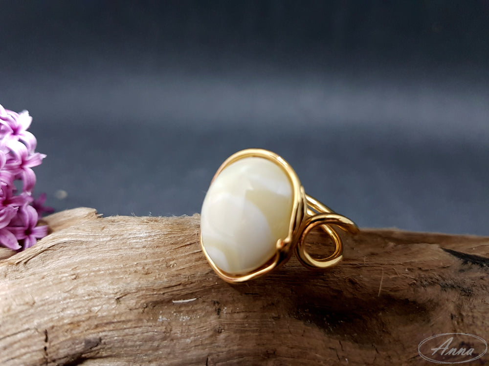 Royal white amber ring