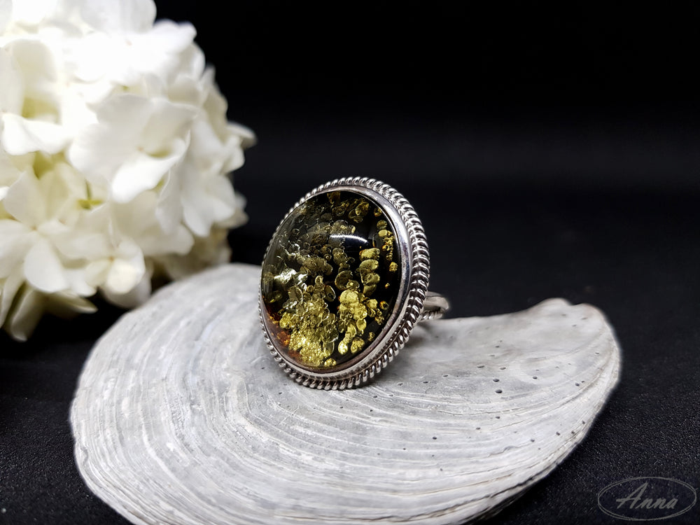 ",,Forest moss"" green amber ring"