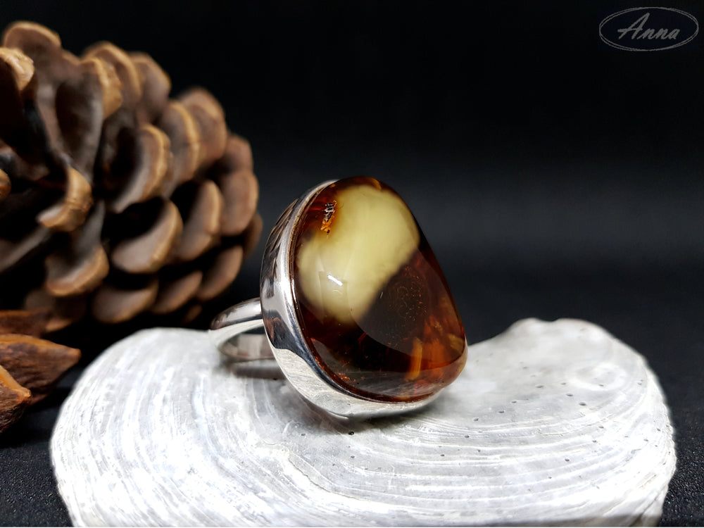 Amber Dream - Natural Silver Ring