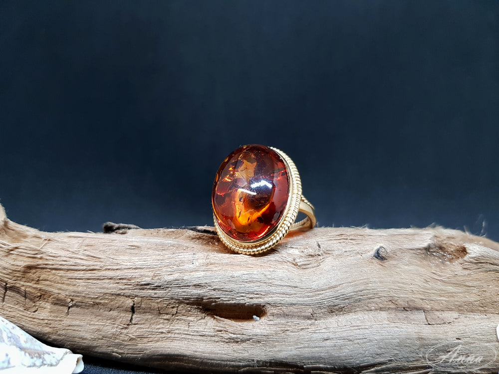 ",,Dragon Eye"" - Cognac amber ring"