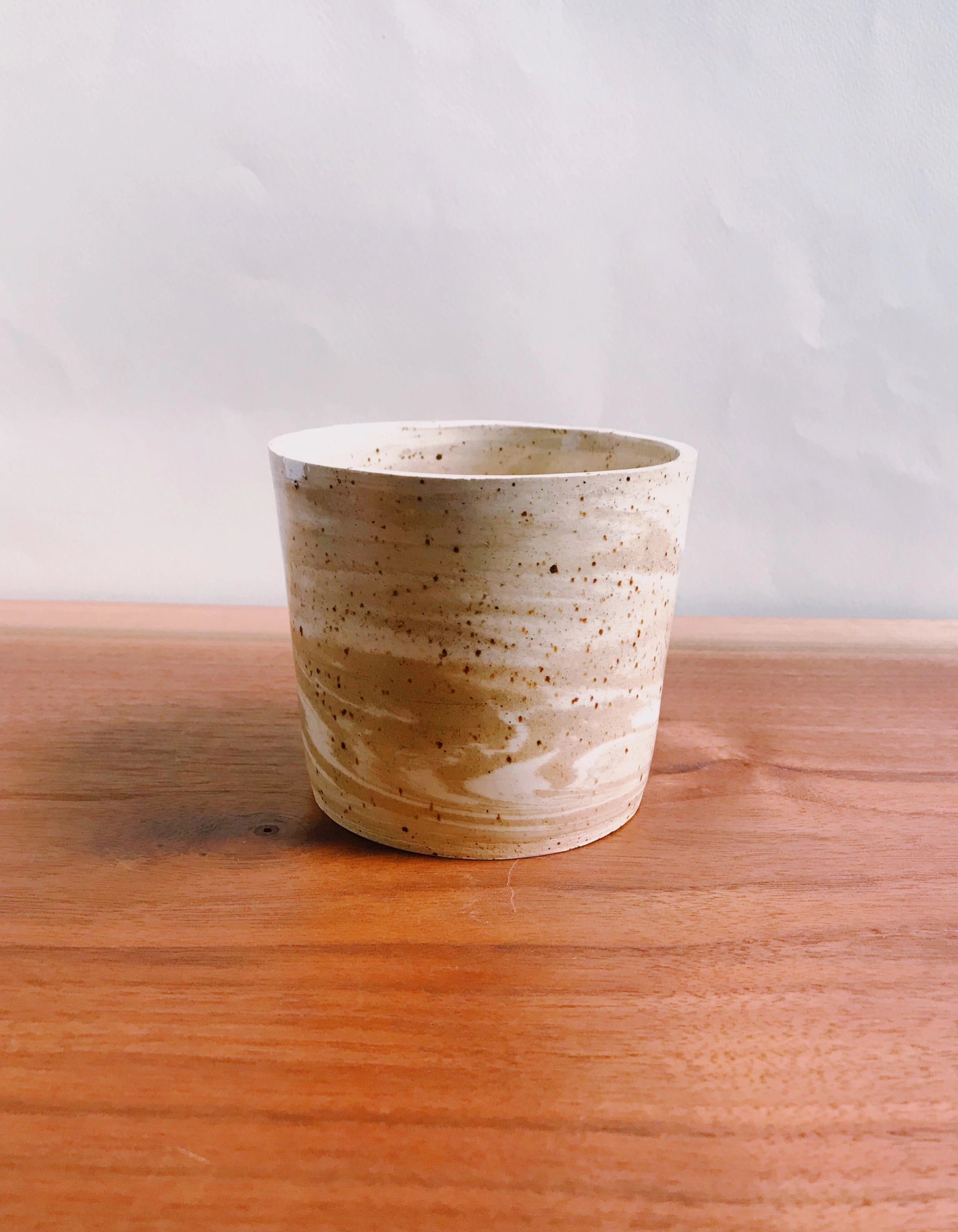 small neutral marbled planter no. 2