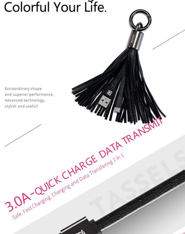 REMAX Tassels Key Ring Micro USB Data Cable Fast Charging Transfer 2.1A Portable Charging Cable For Xiaomi/huawei/samsung