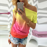 New Fashion Trend Short Sleeve Loose Casual  Tee Tops