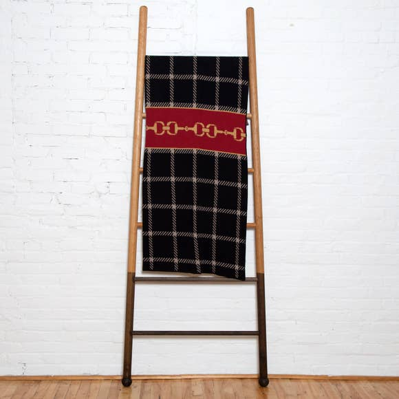 EQUESTRIAN HORSE BIT/PLAID THROW