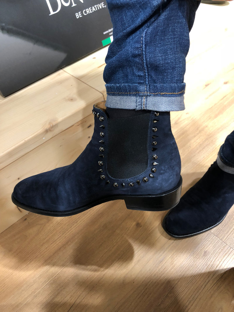 Deniro Fashion Short Boot In Navy Suede