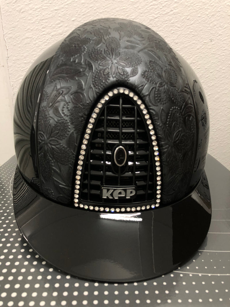 KEP HELMET BLACK POLISHED WITH CRYSTAL FRAME AND CUSTOM LEATHER