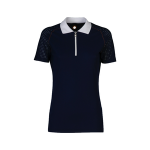 Perforated Raglan Sleeve Polo with Front Zip