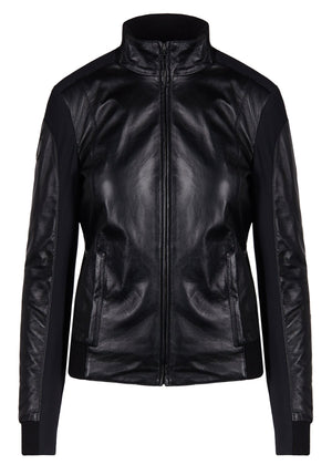 CAVALLERIA TOSCANA LEATHER JERSEY BOMBER