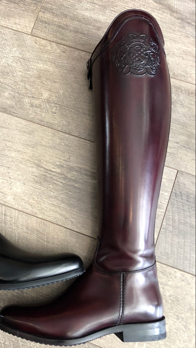 Fasciani Dressage Boot Burgundy With Logo Top