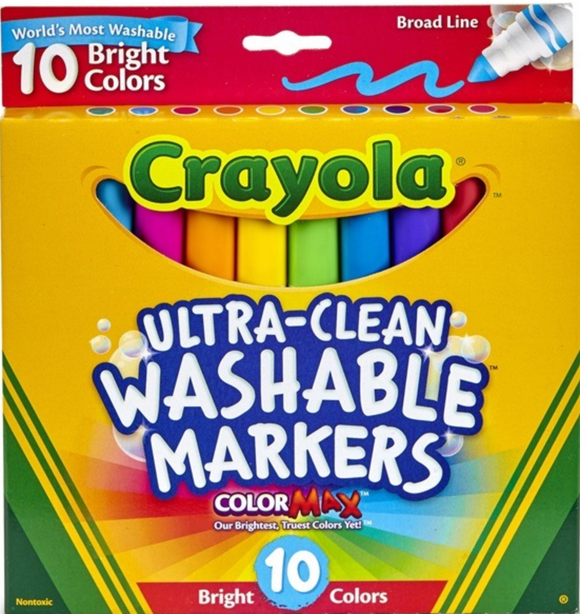 CRAYOLA MARKER ULTRA CLEAN BRIGHT 10PK