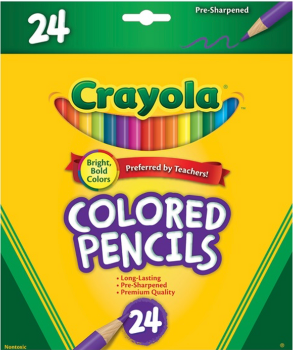 CRAYOLA PENCILS COLORED 24 PKT FULL SIZE