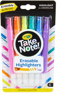 CRAYOLA TAKE NOTE 6CT ERASABLE H/LIGHTER