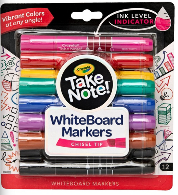 CRAYOLA TAKE NOTE WHITE BOARD BL MARKERS