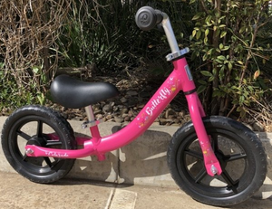"BALANCE BIKE 12"" BUTTERFLY PINK ALLOY"
