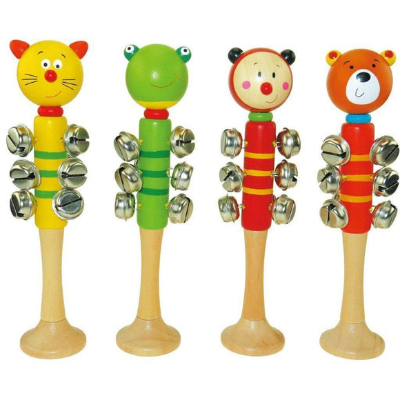 WOODEN ANIMAL BELL STICK W/BASE