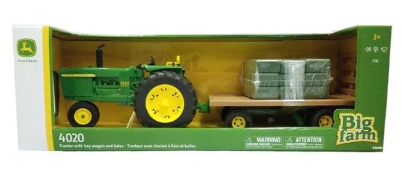 JD BIG FARM 4020 TRACTOR W HAY WAGON BAL