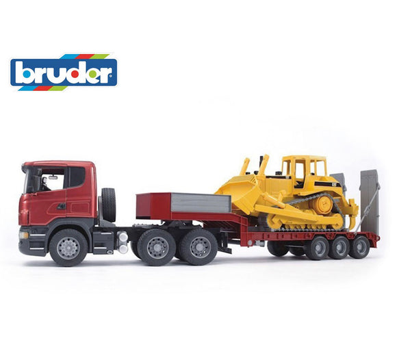 BRUDER 1:16 LOW LOADER W/BULLDOZER