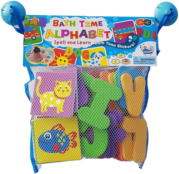 BATH TIME STICKERS ALPHABET IN MESH BAG