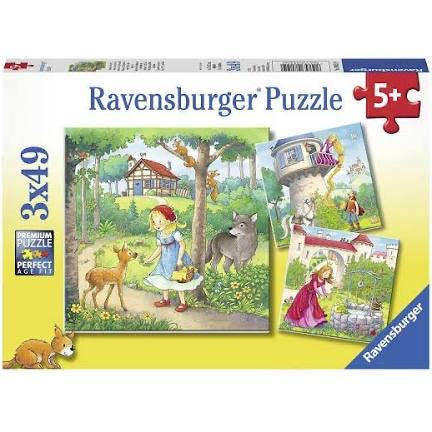 PUZZLE 3X49PC RAPUNZEL/R/HOOD AND FROGS