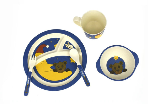 BAMBOOZOO DINNERWARE 5PCS BEAR RABBIT