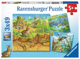 PUZZLE 3X49PC ANIMALS IN THEIR HABITATS