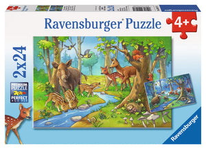 PUZZLE 2X24PC CUTE FOREST ANIMALS