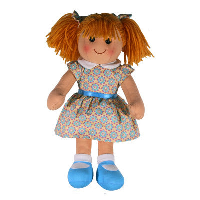 RAG DOLL YD1027 EVIE YELLOW/AQUA DRESS