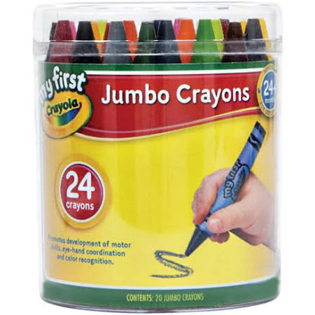 CRAYOLA CRAYONS 24CT JUMBO IN CONTAINER