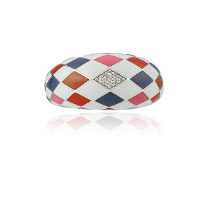 Bague argent Una Storia rose gris orange