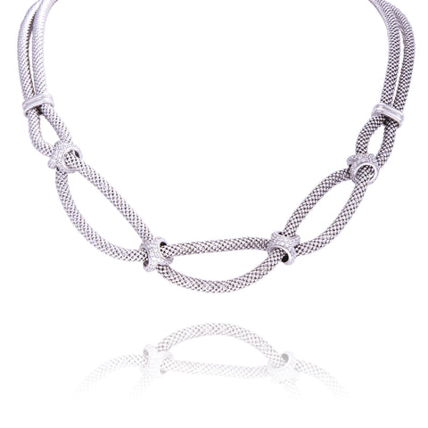 Collier argent 2 rangs Borghese