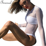 White women long sleeves hollow out hole fitness sexy hot slim bodysuit spring sale
