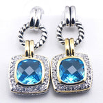 Simulated Aquamarine 925 Sterling Silver Crystal Earrings